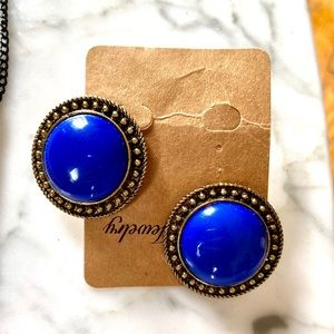 Brand New Royal Blue Button Earrings